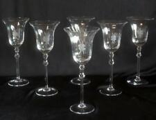 Set of 6 Elegant Crystal Stem Wine Goblet Glasses w/ Etched Single Flower