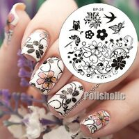 BORN PRETTY Nail Art Stamping Plate Spring Flower Swallow Image Template BP24