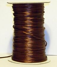 """50 FEET OF DARK BROWN 1/8"""" (2mm) SATIN NECKLACE CORD ONLY $0.10 A FOOT"""