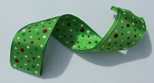 RIBBON, GREEN with SPOTS, 1 Mtr, Gifts/Cards/Bows/Party/Christmas