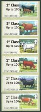 WINCOR CATTLE 1st CLASS LARGE FONT ERRORS SET/6 POST & GO FASTSTAMPS