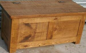 SOLID WOOD CHUNKY RUSTIC PLANK  BEDDING BLANKET TOY BOX SEAT Indigo Furniture