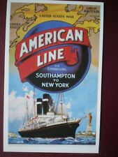 POSTCARD AMERICAN LINE - VIA CHERBOURG SOUTHAMPTON TO NEW YORK