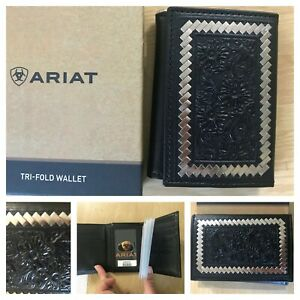 New Ariat mens black tooled tri fold wallet