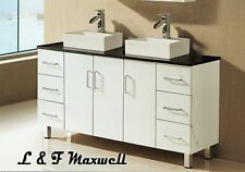 Bathroom Vanity with Stone Top and Double Ceramic Basin 1800mm