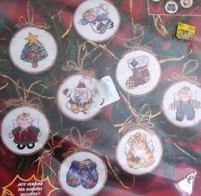 8 CHRISTMAS TREE ornaments SANTA SNOWMAN angel tabby cat  CROSS STITCH  NEW KIT