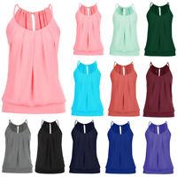 Plus Size Women Sleeveless Blouse Vest Tank Cami Top Summer Loose Plain T-Shirt