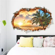 3D Broken sunset sea beach coconut trees living room Wall Sticker Home Decor art