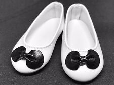 White Black Bow Flat Ballet Doll Shoes for 1/4 MSD BJD Minifee Resinsoul