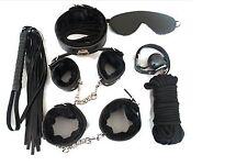 Pro-adult 7pcs Set Sex Tools Black Bondage Kit Leather Restraint System