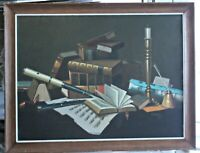 Orig Oil T. Lumbardi(?) Still Life with Musical Instruments Books Candlesticks