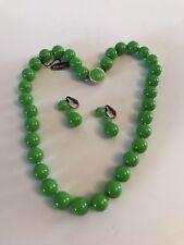 Vintage Japan Apple Green Glass Necklace Beads & Earrings Set