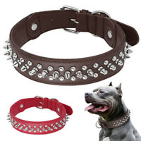 Heavy Duty Genuine Leather Pet Dog Collar Spiked Studded for Rottweiler Labrador
