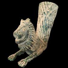 VERY RARE ANCIENT PERSIAN GREEN GLASS RHYTON DRINKING VESSEL, 250- 350 AD