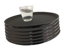 6 x Gastro Tablett Ø 35 rund schwarz antirutsch Kellnertablett Serviertablett