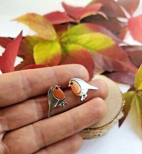 Robin Stud Earrings Bird Earrings Silver & Rose Gold Winter Xmas Christmas gift