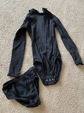 New listing Chasse Girls Cheerleading Black Bodysuit And Briefs Set Size Youth Medium