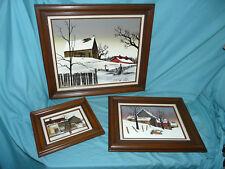 Lot of 3 Original H. Hargrove Paintings Signed Framed Original Oil WINTER Snow