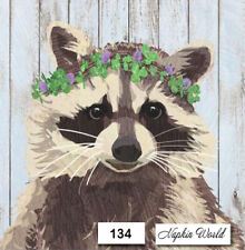 (134) Two Individual Paper Luncheon Decoupage Napkins - Raccoon Coon Wild Mammal