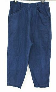 TOAST Ladies Blue 100% Cotton Baggy Fit Stretch Waist Cropped Trousers UK12