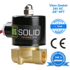 """U. S. Solid 3/8"""" Brass Electric Solenoid Valve 24V AC Normally Closed VITON"""