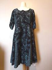 Wrap London Vintage Floral Print Cotton Dress Size 14 NEW Teal Blue Uk Freepost