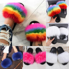 Women's Fox Fur Slides Fuzzy Furry Slippers Comfort Slip On Sandals Summer Shoes