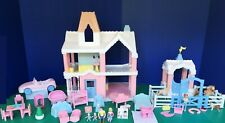Vintage Playskool Victorian Dollhouse + Stable + Car + Twin Family + Furniture