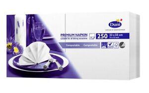 Duni Premium 33cm 3-Ply White Paper Napkins, 250 Pack, Party, Dinner Compostable