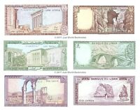 Lebanon 1 + 5 + 10 Livres 1980-86 Set of 3 Banknotes  3 PCS  UNC
