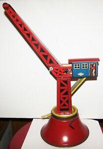 "Rare Vintage Wolverine Lithograph Tin Toy Yard Crane No 20 17 1/2"" tall"