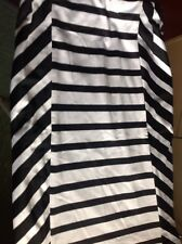 Woman's Size 8 Black and White Striped Pull On Straight Skirt