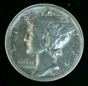 1941 S  - MERCURY DIME - SILVER - AU CONDITION COIN
