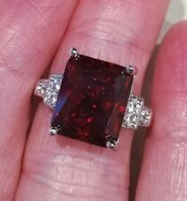 White Sapphire R Art Deco Vintage 925 Sterling Silver Amethyst Cocktail Ring