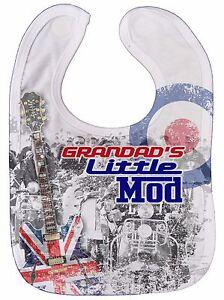 "Baby Mod Bib ""Grandad's Little Mod"" Target Scooter Music Rock Cool Funny Gift"