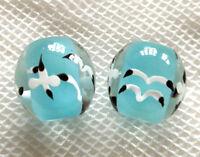 10pcs handmade Lampwork glass round Beads 14mm---blue seagull