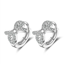 Child Hoop Earrings Circle Shiny Zircon Baby Girl Female Cute Bowknot Earrings