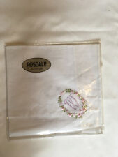 Monogrammed Handkerchief with purple letter W in floral wreath. new in packet