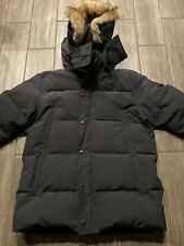 Canada Goose Wyndham Parka Size XL Slim Fit In Black Fur Trim MSRP $995