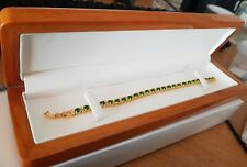 Yellow gold finish Green emerald and created diamonds tennis bracelet gift boxed
