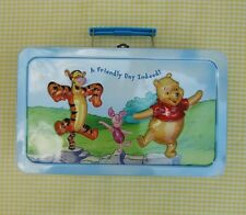 WINNIE THE POOH METAL TIN HINGED LID WITH HANDLE CATCH ALL BOX