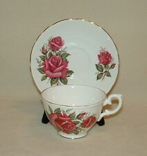 Vintage Crown Staffordshire Tea Cup Set Pink Roses on White Bone China England