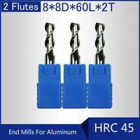 HRC45 2 Flutes 8MM Solid Carbide End Mills For Aluminum L 60MM