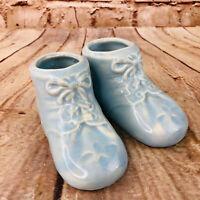 Vtg Pair of BABY SHOE PLANTER boy birth ART pottery BLUE glaze Shower USA
