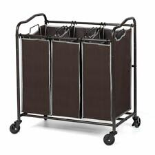 3 Section Laundry Sorter Cart Bags Removable Hamper Basket with 4 Rolling Wheels