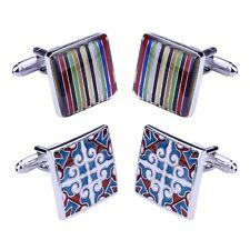 4PCS Cufflinks Shirt Men Square Rainbow Stripes Roman Style Jewelry Set Gift Box