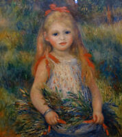 """perfect 30x30 oil painting handpainted on canvas""""a little girl""""@10254"""