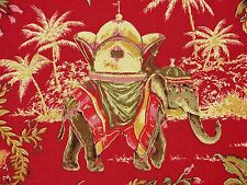 Richloom Elephant Safari Print LACQUER Red Home Decor Drapery Sewing Fabric BTY