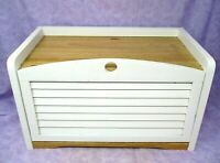 Wood Breadbox Bread Box Drop Down Door County Kitchen White Natural
