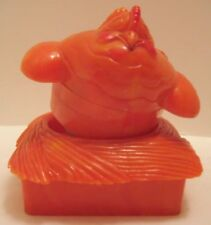 Old Marbled Plastic Orange Hen on Nest Squeaker - Trick Chick appears from Egg
